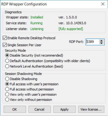 RDP Configuration on Windows 10 Home