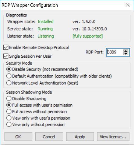 RDP Configuration on Windows 10 Home